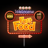 Fast Food Neon sign Stock Photo