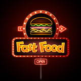 Fast Food Neon sign vector illustration