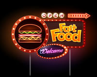 Fast Food Neon sign Stock Images