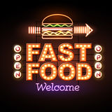Fast Food Neon sign Stock Image