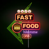 Fast Food Neon sign Royalty Free Stock Photography