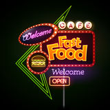 Fast Food Neon sign Royalty Free Stock Photo