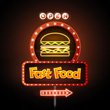 Fast Food Neon sign royalty free illustration