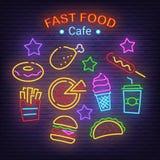 Fast food neonowe ikony ilustracji