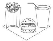 Fast food no fundo branco ilustração do vetor