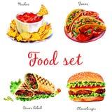 Fast food Objetos isolados no fundo branco ilustração royalty free