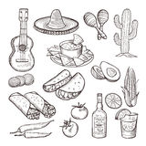 Fast food and other mexican culture elements. Sombrero, guitar, tequila and tacos. Vector hand drawn set Royalty Free Stock Images