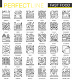 Fast food outline mini concept symbols. Modern stroke linear style illustrations set. Food Perfect thin line icons. Royalty Free Stock Photos