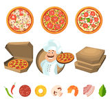 Fast food for party or italian lunch. Pizza with cheese and vegetables. Vector illustration in cartoon style. IUtalian pizza for dinner stock illustration