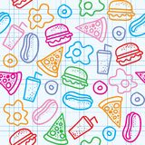 Fast food pattern Stock Photo