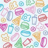 Fast food pattern Stock Photo
