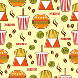 Fast food pattern with drinks, burgers and fries. Royalty Free Stock Photos