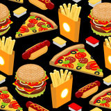 Fast food pattern. Hamburger and french fries on black background. Pizza and Hot Dog texture. Ornament delicious food. Cheese vector illustration