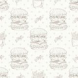 Fast food pattern with hamburger. Hand draw retro illustration. Vintage burger design. Stock Photo