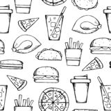Fast food pattern royalty free illustration
