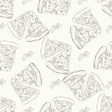 Fast food pattern with pizza. Hand draw retro illustration. Vintage pizza design. Stock Photos