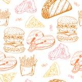 Fast food pattern with taco. Hand draw retro illustration. Vintage design Stock Image