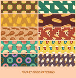 Fast food patterns Stock Images