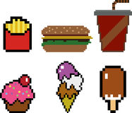 Fast food in pixel-art style Royalty Free Stock Image