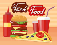 Fast Food Pizza Burger Design Flat Royalty Free Stock Images