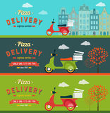 Fast food and pizza delivery banners set flat illustration Stock Photo