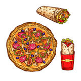 Fast food pizza, doner burrito vector sketch icons Royalty Free Stock Image
