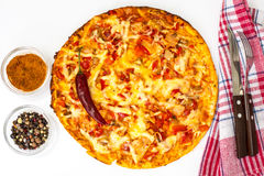 Fast food - pizza with ham, cheese and paprika Stock Photos