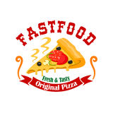 Fast food pizza slice vector label Royalty Free Stock Image