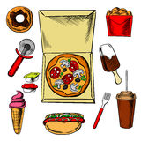 Fast food pizza and snacks Royalty Free Stock Photo