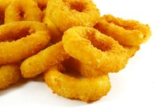 Fast Food Popular Side Dish of Onion Rings. On White Background stock image