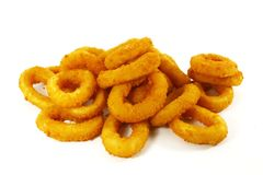 Fast Food Popular Side Dish of Onion Rings. On White Background royalty free stock image