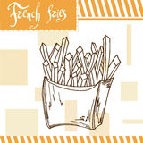 Fast food poster with french fries. Hand draw retro illustration.  Royalty Free Stock Photos