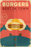 Fast food poster. Fast Food Fun Poster in Retro Design Style. Big Burger. Illustration Stock Photography