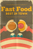 Fast food poster. Fast Food Fun Poster in Retro Design Style. Hot Dog and Coffee. Illustration Stock Photo
