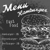 Fast food poster with hamburger. Hand draw retro illustration. V Royalty Free Stock Photo