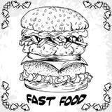 Fast food poster with hamburger. Hand draw retro illustration. V Stock Photo