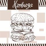 Fast food poster with hamburger. Hand draw retro illustration.  Royalty Free Stock Image