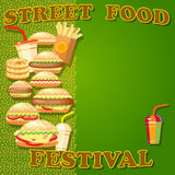 Fast food poster with hamburger, potato fries, hot dog, drink. Royalty Free Stock Photos