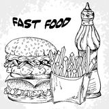 Fast food poster with hamburger, sauces and french fries. Hand d Stock Photos