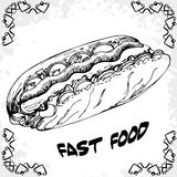 Fast food poster with hot dog. Hand draw retro illustration. Vin Stock Photography