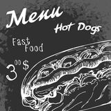 Fast food poster with hot dog. Hand draw retro illustration. Vin Stock Image