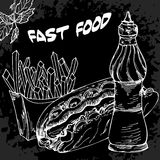Fast food poster with hot dog sauces and french fries. Hand draw Royalty Free Stock Photos