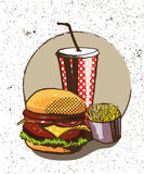 Fast food poster in retro pop art style. Vector comic illustration. Concept graphic background with burger Stock Photo