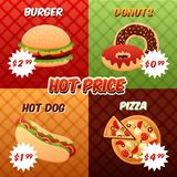 Fast Food Poster Set Stock Photos