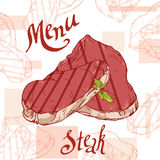 Fast food poster with steak. Hand draw retro illustration. Vintage burger design. Template Stock Photography