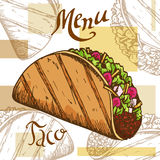 Fast food poster with taco. Hand draw retro illustration. Vintage burger design. Template Royalty Free Stock Photography