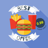 Fast food poster vector illustration - burger Royalty Free Stock Photos