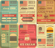 Fast food posters collection Stock Photo