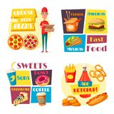 Fast food meals vector pizza burger posters. Fast food posters of pizza boy delivery, burger or sandwich and hot dog snack. Vector flat design cheeseburger Stock Photos