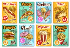 Fast food restaurant menu vector sketch posters. Fast food posters sketch design for fastfood restaurant or bistro menu template. Vector pizza, cheeseburger Royalty Free Stock Image